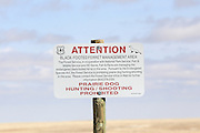 Signs at Buffalo Gap National Grasslands alert visitors to the presence of endangered Black-footed ferrets.