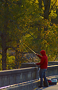 Gring's Mill, Tulpehocken River, Berk's County, Pennsylvania, fisherman, autumn