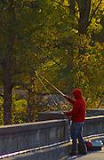 Gring's Mill, Tulpehocken River, Berk's County, Pennsylvania, fisherman, autumn