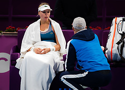 February 13, 2019 - Doha, QATAR - Anett Kontaveit of Estonia in action during her second-round match at the 2019 Qatar Total Open WTA Premier tennis tournament (Credit Image: © AFP7 via ZUMA Wire)