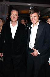Left to right, leader of The Conservatives DAVID CAMERON MP and ZAC GOLDSMITH at the Conservative Party's Black & White Ball held at Old Billingsgate, 16 Lower Thames Street, London EC3 on 8th February 2006.<br /><br />NON EXCLUSIVE - WORLD RIGHTS