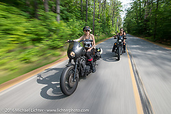 Leticia Cline and the Iron Lilies out riding during Laconia Motorcycle Week 2016. NH, USA. Sunday, June 19, 2016.  Photography ©2016 Michael Lichter.