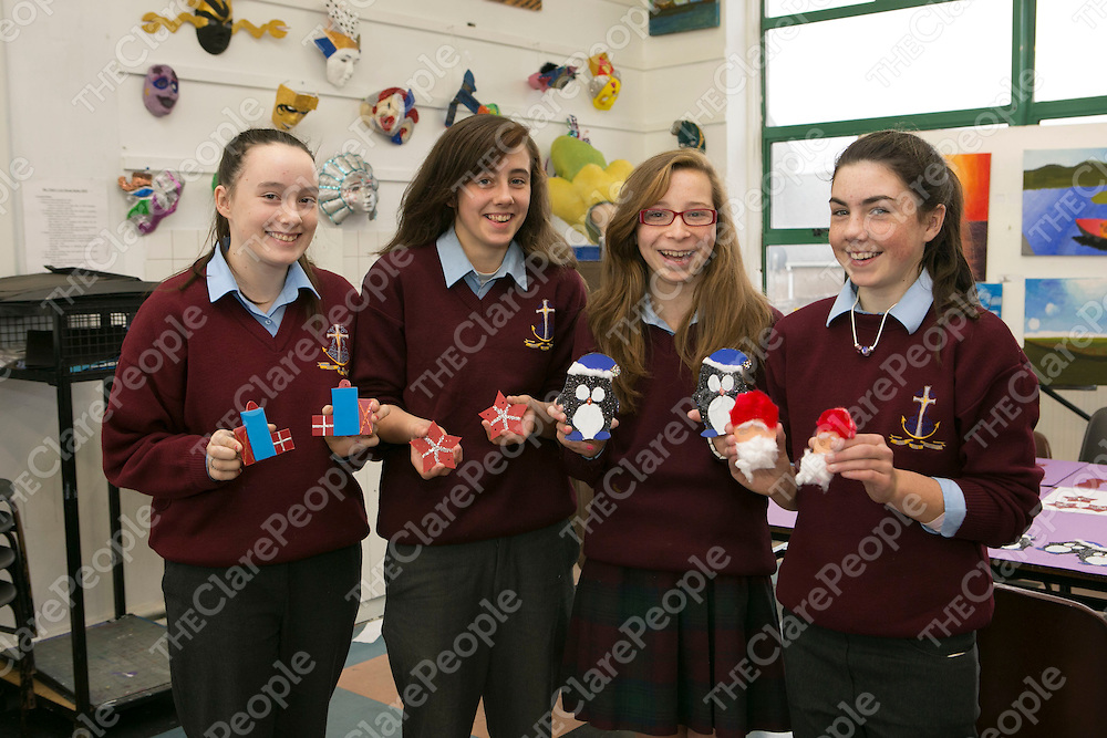 Claudia Doohan, Nichola O'Doherty, Niamh Blake & Ciara McDonnell getting ready for the Christmas Fair in  St Josephs Secondary School Spanish Point.<br /> Picture Credit Brian Gavin Press 22