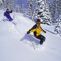 SKIING, Big Sky, Montana. Patrick Shanahan & Maclaren Johnson (MR) ski Stump Farm run.