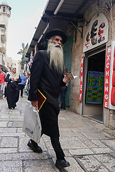A traditionally dressed orthodox Jewish man in the Old City of Jerusalem. From a series of travel photos taken in Jerusalem and nearby areas. Photo date: Thursday, August 2, 2018. Photo credit should read: Richard Gray/EMPICS