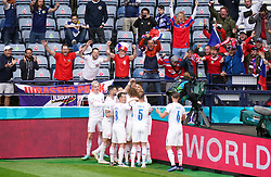 Czech Republic's Patrik Schick celebrates scoring their side's second goal of the game with his team-mates and in front of their fans during the UEFA Euro 2020 Group D match at Hampden Park, Glasgow. Picture date: Monday June 14, 2021.
