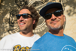Born Free founders Grant Peterson (left) and Mike Davis at the Born Free 8 Motorcycle Show on Sunday. Silverado, CA, USA. June 26, 2016.  Photography ©2016 Michael Lichter.