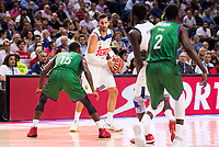 Real Madrid's player Rudy Fernandez and Othello Hunter and Unicaja Malaga's player Jamar Smith and Viny Okouo during match of Liga Endesa at Barclaycard Center in Madrid. September 30, Spain. 2016. (ALTERPHOTOS/BorjaB.Hojas)