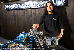 Seven Motorcycles' Takatoshi Suzuki with his custom 1967 Harley-Davidson Shovelhead that was given the Michael Lichter Mooneyes Award this year at the 27th Annual Mooneyes Yokohama Hot Rod Custom Show 2018. Yokohama, Japan. Sunday, December 2, 2018. Photography ©2018 Michael Lichter.