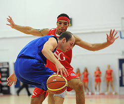 Bristol Flyers' Greg Streete defends - Photo mandatory by-line: Dougie Allward/JMP - Mobile: 07966 386802 - 18/10/2014 - SPORT - Basketball - Bristol - SGS Wise Campus - Bristol Flyers v Durham Wildcats - British Basketball League