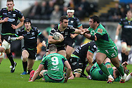 Tom Habberfield of the Ospreys © looks to go past John Cooney (9), Finlay Bealham (3) and Dennis Buckley (r) of Connacht. Guinness Pro12 rugby match, Ospreys v Connacht rugby at the Liberty Stadium in Swansea, South Wales on Saturday 7th January 2017.<br /> pic by Andrew Orchard, Andrew Orchard sports photography.