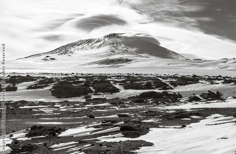 Mount Erebus from Windvane Hill, Cape Evans