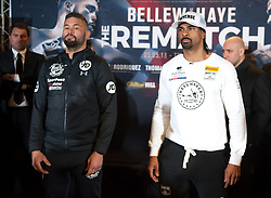 May 3, 2018 - London, London, United Kingdom - Bellew vs David Haye press conference. ..Tony Bellew and David Haye posing for a picture after the press conference...Tony Bellew vs David Haye press conference at Park Plaza hotel. (Credit Image: © Gustavo Valiente/i-Images via ZUMA Press)