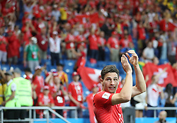 ROSTOV-ON-DON, June 17, 2018  Fabian Schaer of Switzerland greets the audience after a group E match between Brazil and Switzerland at the 2018 FIFA World Cup in Rostov-on-Don, Russia, June 17, 2018. The match ended in a 1-1 draw. (Credit Image: © Li Ming/Xinhua via ZUMA Wire)