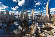 the bright blue sky and clouds near Lee VIning California reflecting the tufa's in Mono Lake.