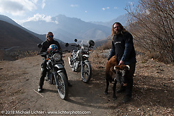 Round the World Doug Wothke and Bear Haughton head up to 12,000' at the end of day-5  of our Himalayan Heroes adventure riding from Kalopani through the Mustang District to Muktinath, Nepal. Saturday, November 10, 2018. Photography ©2018 Michael Lichter.