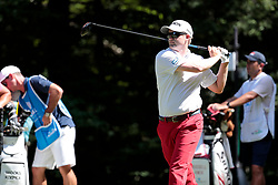 September 2, 2018 - Norton, MA, U.S. - NORTON, MA - SEPTEMBER 02: Russell Knox of Scotland hits from the 8th tee during the Third Round of the Dell Technologies Championship on September 2, 2018, at TPC Boston in Norton, Massachusetts. (Photo by Fred Kfoury III/Icon Sportswire) (Credit Image: © Fred Kfoury Iii/Icon SMI via ZUMA Press)