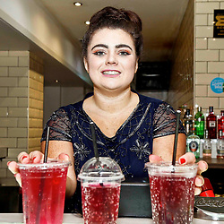 Pictured: Cara Teven, Behind the bar at The Yard within Strathclyde Student Union to Launch the Girls Against Spiking Campaign<br /> <br /> Colin Poultney | EEm Thursday 6th December 2018