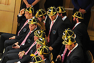Uruguay rugby captain Santiago Vilaseca © returns to his seat. Uruguay 2015 World Cup team welcoming ceremony at the Royal Welsh College of Music and Drama in Cardiff, Wales.on Monday 14th Sept 2015.<br /> pic by Andrew Orchard, Andrew Orchard sports photography.
