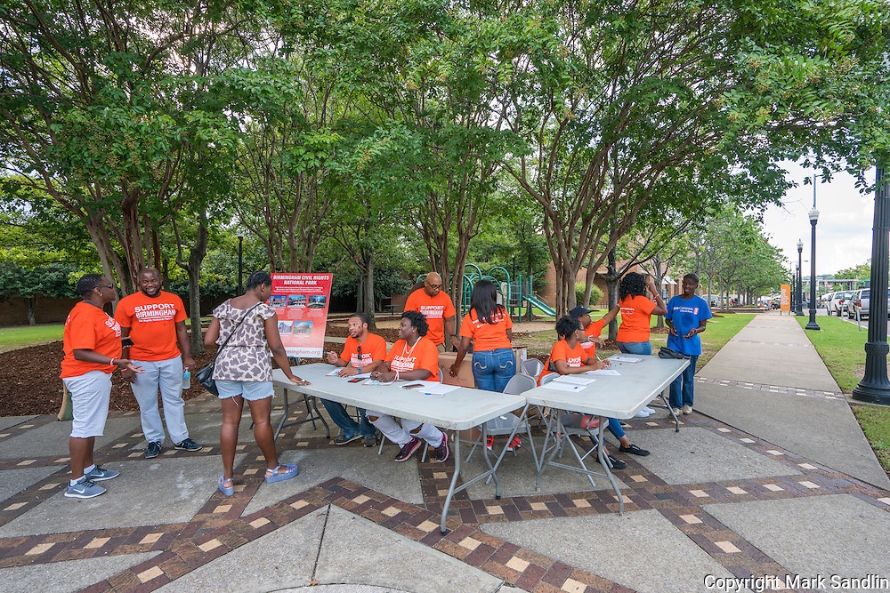 Volunteers working the March for Birmingham sign in table