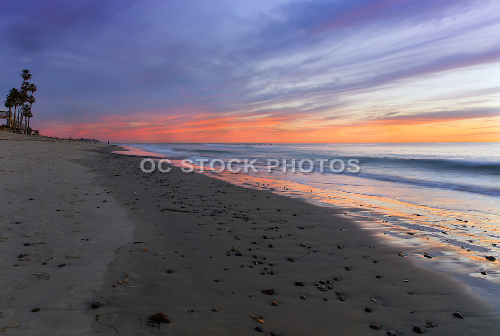 San Clemente Beach Looking South During Sunset