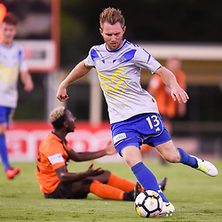 BRISBANE, AUSTRALIA - JANUARY 8: Sam Knight of Strikers in action during the Kappa Silver Boot Group A match between Brisbane Strikers and Eastern Suburbs on January 8, 2017 in Brisbane, Australia. (Photo by Patrick Kearney)