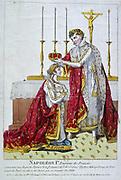 Coronation of Napoleon I, 2 December 1804. Napoleon placing the crown on Empress Josephine. Hand-coloured engraving.