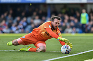 Rochdale Goalkeeper, Josh Lillis (1) makes a save during the EFL Sky Bet League 1 match between Portsmouth and Rochdale at Fratton Park, Portsmouth, England on 13 April 2019.