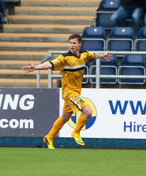 Dumbarton's Mitchell Megginson cele scoring their second goal.<br /> Half time : Falkirk 1 v 2 Dumbarton, Scottish Championship game played today at the Falkirk Stadium.<br /> ©Michael Schofield.