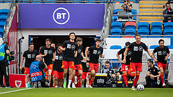 CARDIFF, WALES - Saturday, June 5, 2021: Wales players wearing a Hope United t-shirt, during the pre-match warm-up before an International Friendly between Wales and Albania at the Cardiff City Stadium in their game before the UEFA Euro 2020 tournament. (Pic by David Rawcliffe/Propaganda)