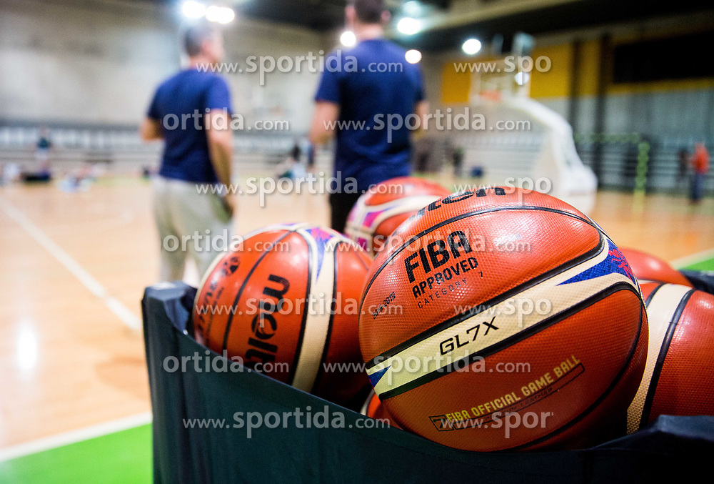 Balls during practice session of Slovenian National basketball team before FIBA Basketball World Cup China 2019 Qualifications against Belarus, on November 20, 2017 in Arena Stozice, Ljubljana, Slovenia. Photo by Vid Ponikvar / Sportida