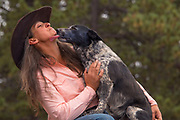 A Colorado based Vet gets a kiss from her own dog, No-tail.