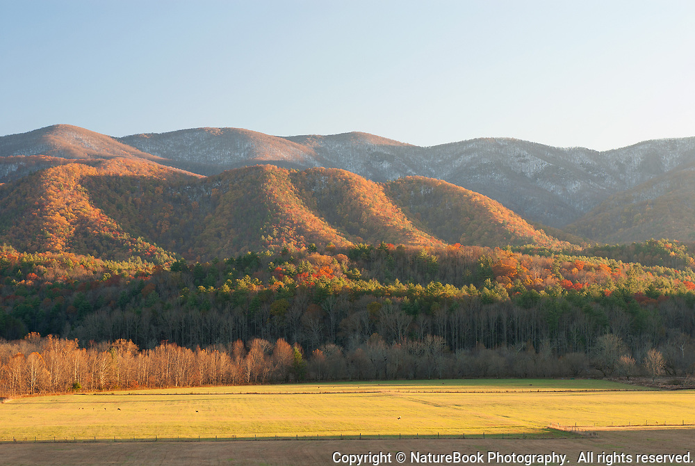 Autumn sunset at Cades Cove in the Great Smoky Mountains