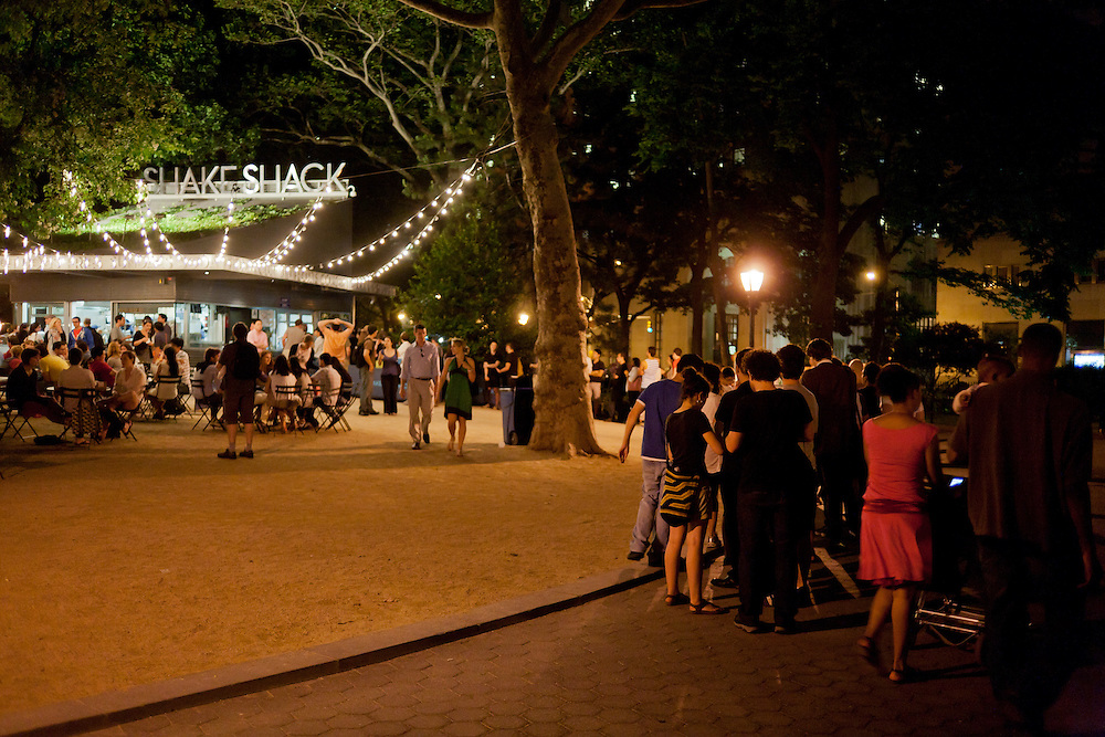 Diners wait to be served outside the Shake Shack in Madison Square Park.
