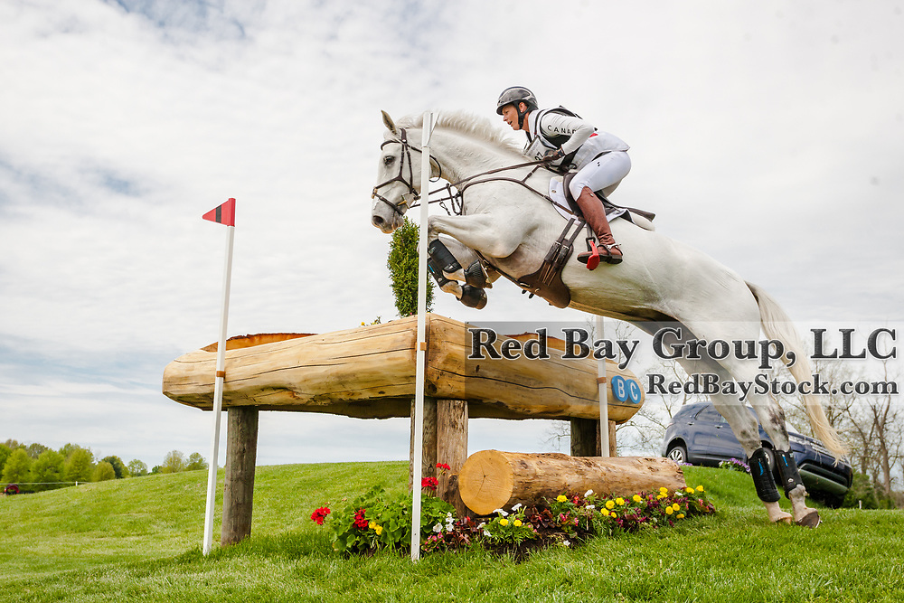 Colleen Loach (CAN) and Qorry Blue d'Argouges during the cross-country at the 2019 Land Rover Kentucky Three-Day Event presented by MARS EQUESTRIAN in Lexington, Kentucky