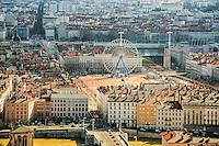 Lyon. Vue generale sur la place Bellecour depuis Fourviere