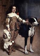 Count Don Antonio el Ingles with his dog. 1640-1645.  Diego Velasquez (1599-1660) Spanish painter. Oil on canvas.