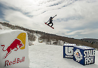 """March 15, 2014: 17-year-old Joel Massanoi with a huge """"Stale Fish"""" jump during the Red Bull Roll The Dice competition at Camp Fortune, Quebec on March 15 2014."""