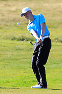 Eoin Sullivan (Carton House) on the 1st during Round 2 of the Ulster Boys Championship at Donegal Golf Club, Murvagh, Donegal, Co Donegal on Thursday 25th April 2019.<br /> Picture:  Thos Caffrey / www.golffile.ie
