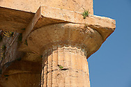 Close up of the ancient Doric Greek capitals & columns of the  Temple of Hera of Paestrum built in about 460-450 BC. Paestrum archaeological site, Italy. .<br /> <br /> If you prefer to buy from our ALAMY PHOTO LIBRARY  Collection visit : https://www.alamy.com/portfolio/paul-williams-funkystock/paestum-greek-temples.html<br /> Visit our CLASSICAL WORLD HISTORIC SITES PHOTO COLLECTIONS for more photos to buy as buy as wall art prints https://funkystock.photoshelter.com/gallery-collection/Classical-Era-Historic-Sites-Archaeological-Sites-Pictures-Images/C0000g4bSGiDL9rw