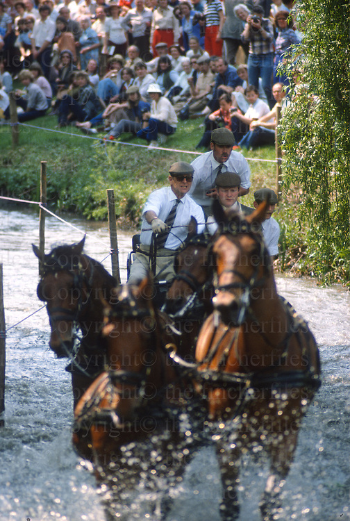 Prince Philip, The Duke of Edinburgh seen carriage driving in  a cross-country event at the Royal Windsor Horse Show 1987.Photograph by Jayne Fincher