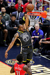 May 6, 2018 - New Orleans, LA, U.S. - NEW ORLEANS, LA - MAY 06: Golden State Warriors forward Andre Iguodala (9) dunks the ball against New Orleans Pelicans guard Jrue Holiday (11) during game 4 of the NBA Western Conference Semifinals at Smoothie King Center in New Orleans, LA on May 06, 2018.  (Photo by Stephen Lew/Icon Sportswire) (Credit Image: © Stephen Lew/Icon SMI via ZUMA Press)