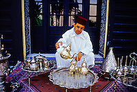 "Serving mint tea, ""Al Fassia"" restaurant in the Palais Jamai (luxury hotel), Fez (Fes), Morocco"