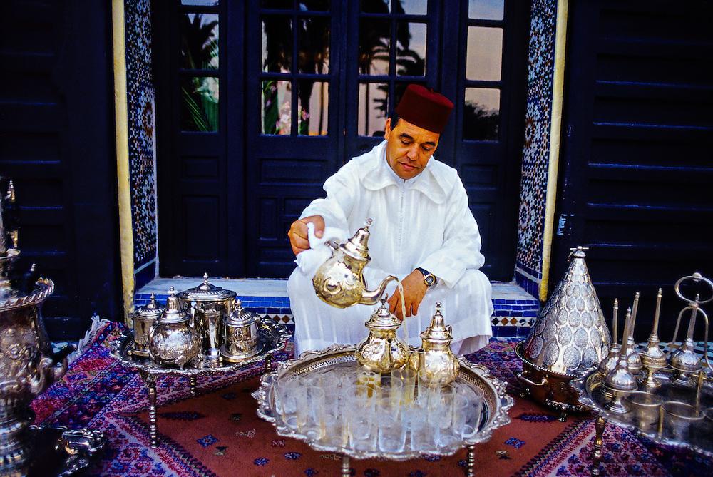 "Serving mint tea, ""Al Fassia"" restaurant in the Palais Jamai (luxury hotel), Fez (Fes), Morocco"