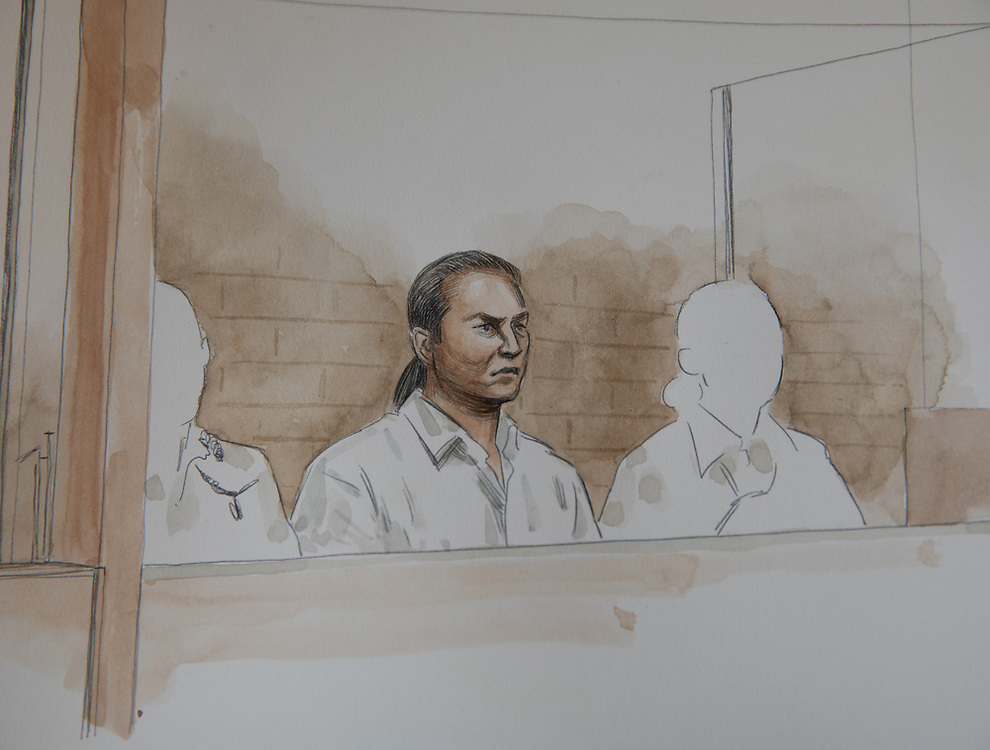 An artist's impression of Ben Cousins at the Armadale District Court today, Wednesday 28 October 2020, pic Tony McDonough