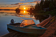 Boat and sunset on Lac des Sables<br />