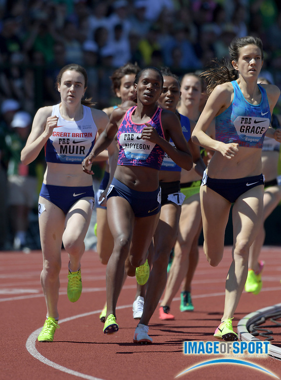 May 27, 2017; Eugene, OR, USA; Faith Kipyegon (KEN), center, defeats Laura Muir (GBR), left, and Kate Grace (USA) to win the women's 1,500m in 3:59.67 during the 43rd Prefontaine Classic at Hayward Field.