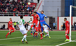 Gibraltar's goalkeeper Kyle Goldwin punches clear whilst under pressure during the UEFA Euro 2020 Qualifying, Group D match at the Victoria Stadium, Gibraltar.