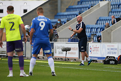 Colchester United manager John McGreal gives out instructions - Mandatory by-line: Arron Gent/JMP - 18/06/2020 - FOOTBALL - JobServe Community Stadium - Colchester, England - Colchester United v Exeter City - Sky Bet League Two Play-off 1st Leg