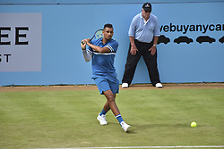 June 19, 2018 - London, England, United Kingdom - Nick Kyrgios (AUS) play against Andy Murray (GBR) during their first singles match on day two of Fever Tree Championships at Queen's Club, London on June 19, 2018. (Credit Image: © Alberto Pezzali/NurPhoto via ZUMA Press)